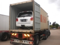 Container doors open, car all chocked secure